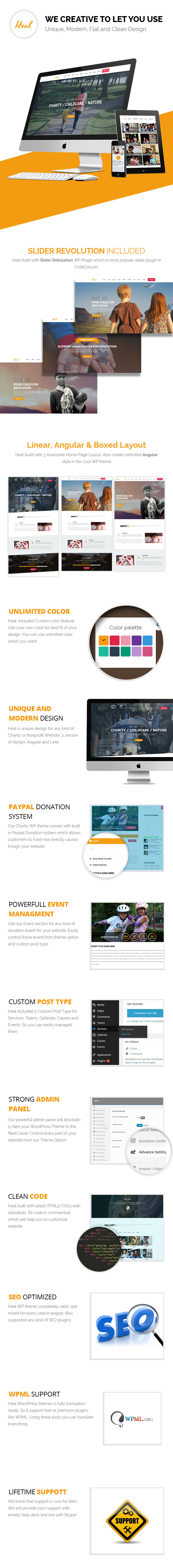 Main Features of Heal - Charity WordPress Theme