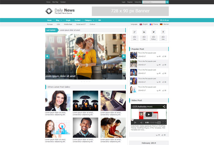 CCR Daily News Free HTML5 Template   html    40+ Free HTML5 Templates in 2014