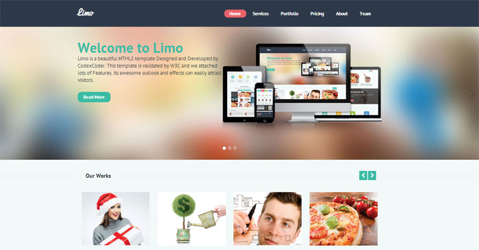 Limo One Page Template CodexCoder   html    40+ Free HTML5 Templates in 2014