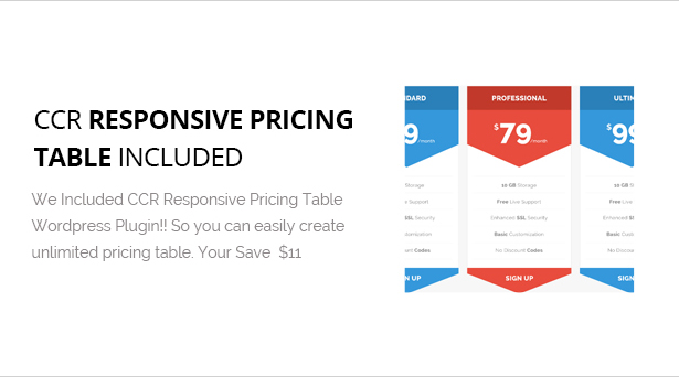CCR Responsive Pricing table plugin Included