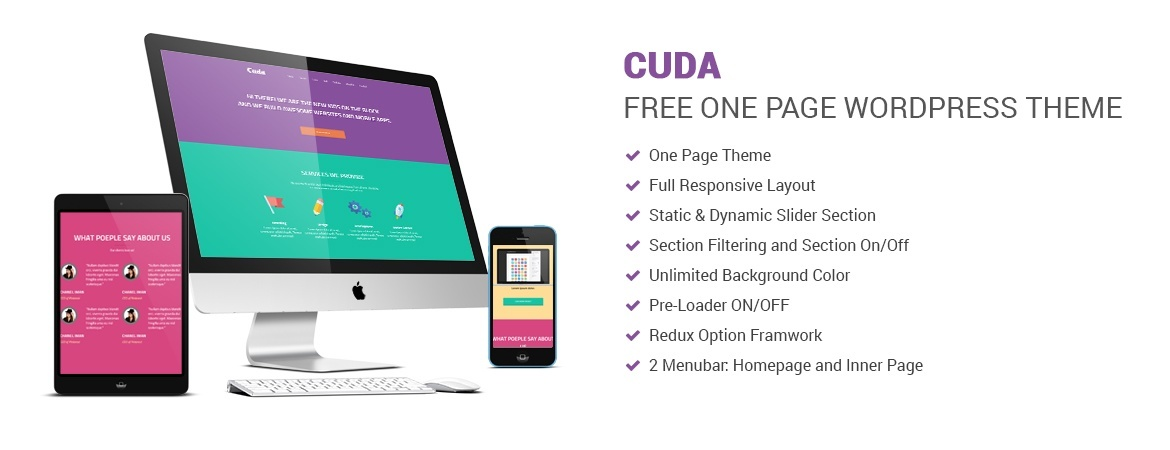 Cuda – Free One Page WordPress Theme