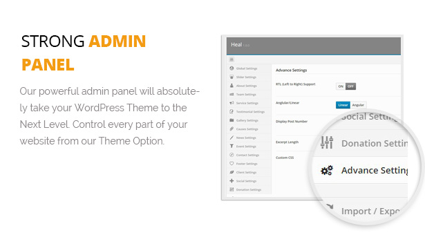 Strong Admin Panel in Heal Charity WordPress Theme
