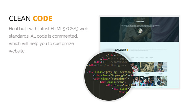 Clean Code in Heal WP Theme