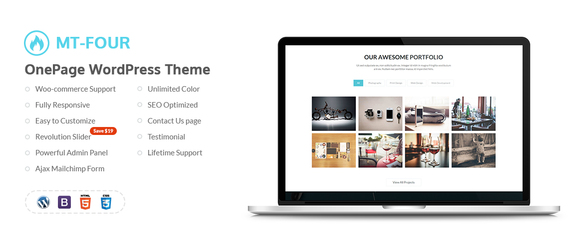 MT – 4 – One Page WordPress Theme