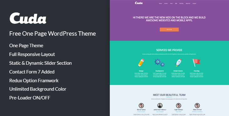 Freee donwload cuda one page html template codexcoder for Wordpress theme with multiple page templates