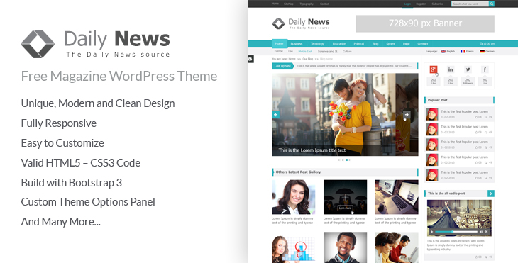 Daily News - Free Magazine WordPress Theme - CodexCoder