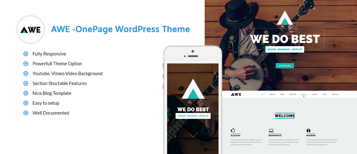 AWE – Free One Page WordPress Theme