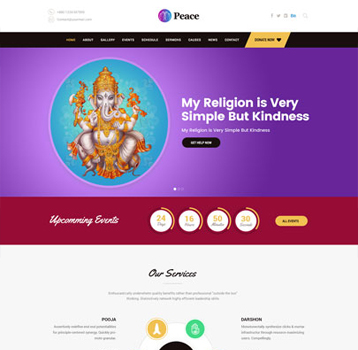 Peace - Church, Temple & Muslim WordPress Theme