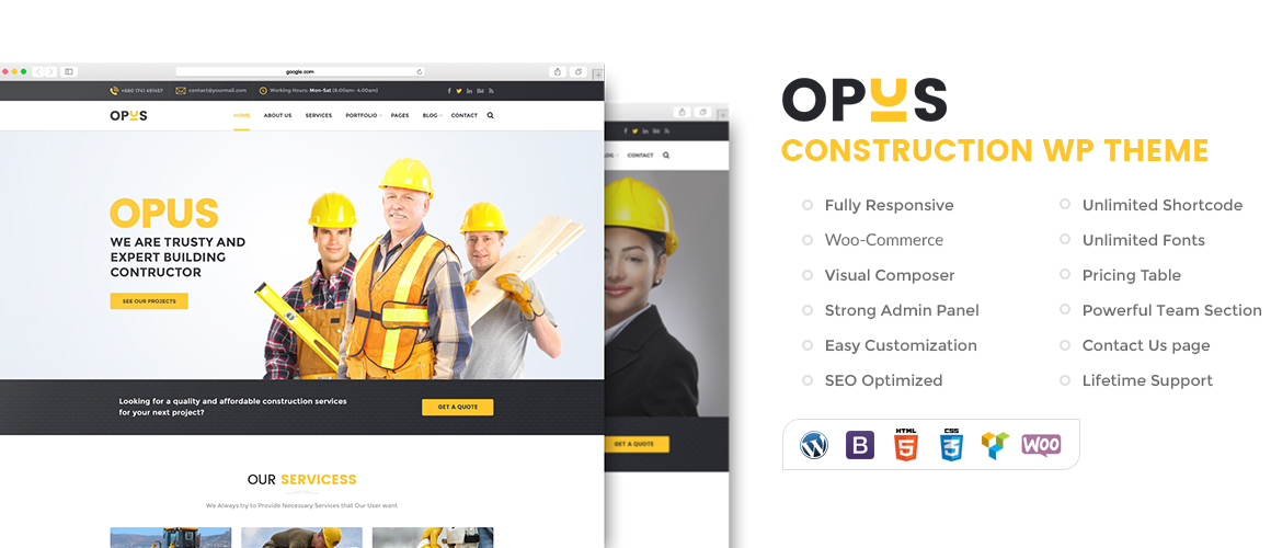 Opus – Construction & Building WordPress Theme