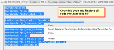 how to create htaccess file in localhost