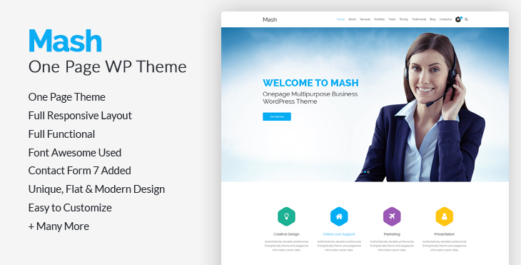 50 best free responsive wordpress themes 2018 codexcoder mash free onepage business corporate agency wordpress theme flashek Image collections