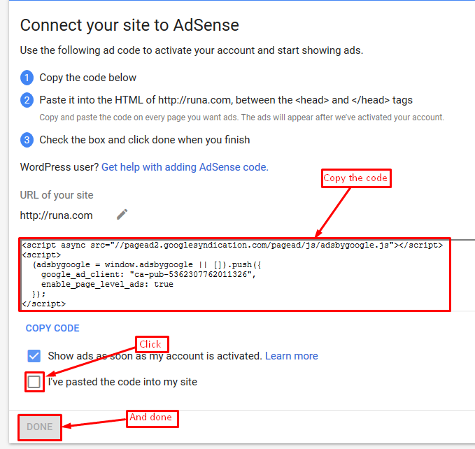 how to properly add Google AdSense to a WordPress site
