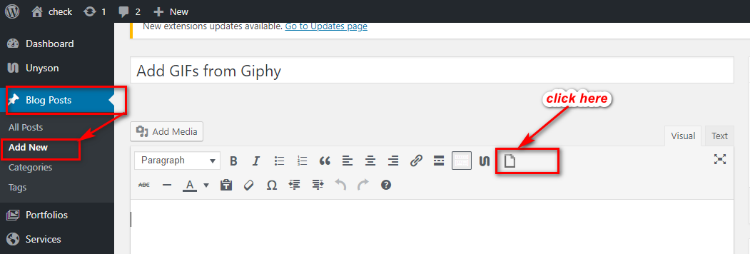 how to add GIFs from Giphy in WordPress using Giphypress